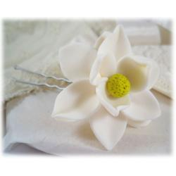 White Magnolia Hair Pin