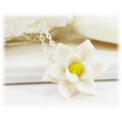 Magnolia Flower Pendant Necklace