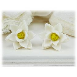 White Magnolia Stud Earrings