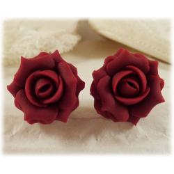 Red Maroon Rose Stud Earrings
