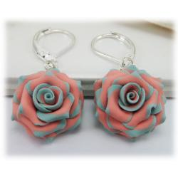 Mint Coral Rose Earrings