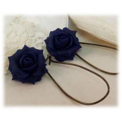 Blue Navy Rose Drop Earrings