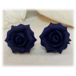 Blue Navy Rose Stud Earrings