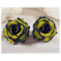 Navy Yellow Rose Earrings