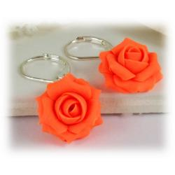 Neon Orange Rose Drop Earrings