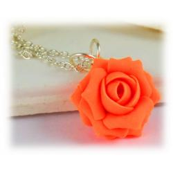 Neon Orange Rose Necklace