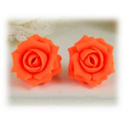 Neon Orange Rose Stud Earrings
