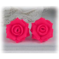 Neon Pink Rose Stud Earrings