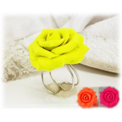 Large Neon Rose Adjustable Ring