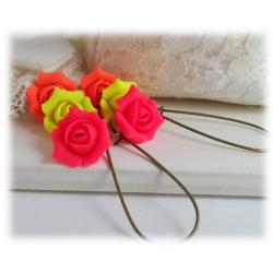 Neon Rosebud Drop Earrings
