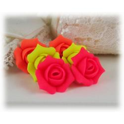 Neon Rosebud Stud Earrings