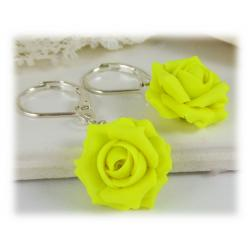 Neon Yellow Rose Drop Earrings