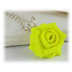 Neon Yellow Rose Necklace
