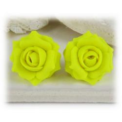 Neon Yellow Rose Stud Earrings