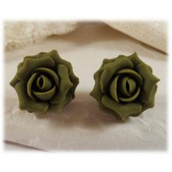Green Olive Rose Stud Earrings