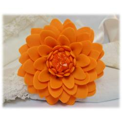 Large Orange Chrysanthemum Brooch Pin