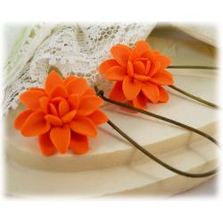 Orange Dahlia Drop Earrings