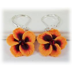 Orange Hibiscus Earrings