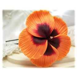Orange Hibiscus Hair Pins