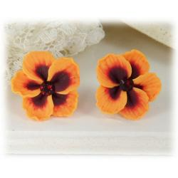 Orange Hibiscus Stud Earrings