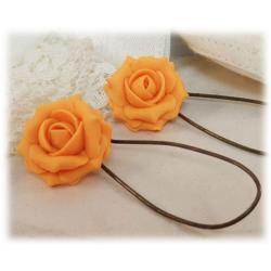 Orange Light Rose Drop Earrings