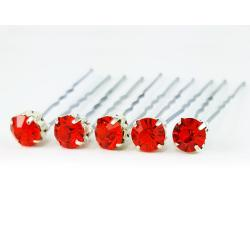 Hyacinth Orange Rhinestone Hair Pins