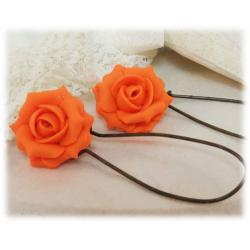 Orange Rose Drop Earrings