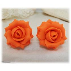 Orange Rose Stud Earrings