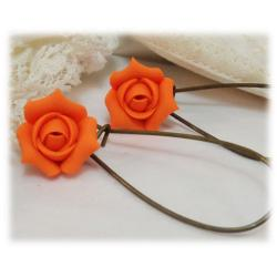 Orange Rosebud Drop Earrings