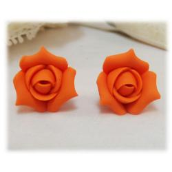 Orange Rosebud Stud Earrings