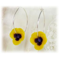 Yellow Pansy Hoop Earrings