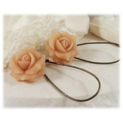 Peach Rose Drop Earrings