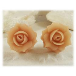 Peach Rose Stud Earrings