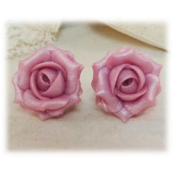 Pink Light Pearl Rose Stud Earrings
