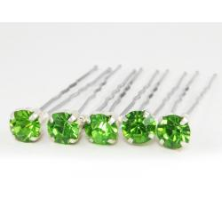 Peridot Green Rhinestone Hair Pins