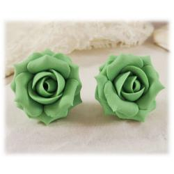 Green Peridot Rose Stud Earrings