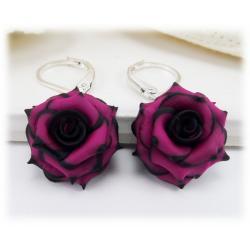 Black Tipped Pink Rose Drop Earrings
