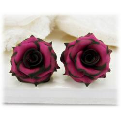 Black Tipped Pink Rose Stud Earrings