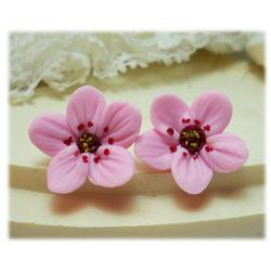 Pink Cherry Blossom Stud Earrings