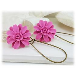 Pink Dahlia Drop Earrings