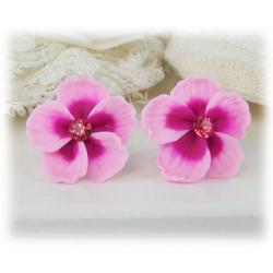 Pink Hibiscus Stud Earrings