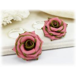 Olive Tipped Pink Rose Drop Earrings