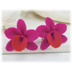 Pink Orchids Stud Earrings
