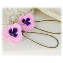 Pink Purple Crystal Pansy Drop Earrings