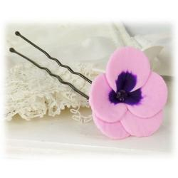 Pink Purple Crystal Pansy Hair Pin