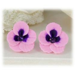 Pink Purple Crystal Pansy Stud Earrings