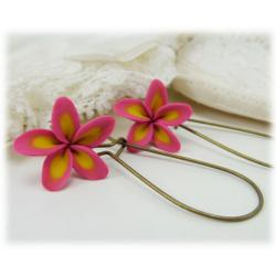 Pink Plumeria Drop Earrings
