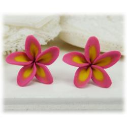 Pink Plumeria Stud Earrings