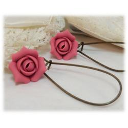 Pink Rosebud Drop Earrings