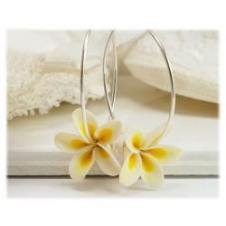 Plumeria Hoop Earrings